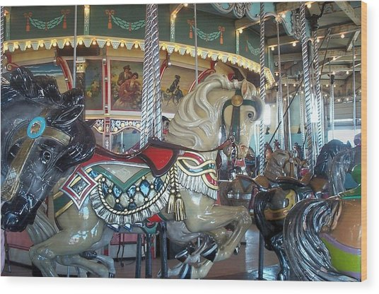 Paragon Carousel Nantasket Beach Wood Print