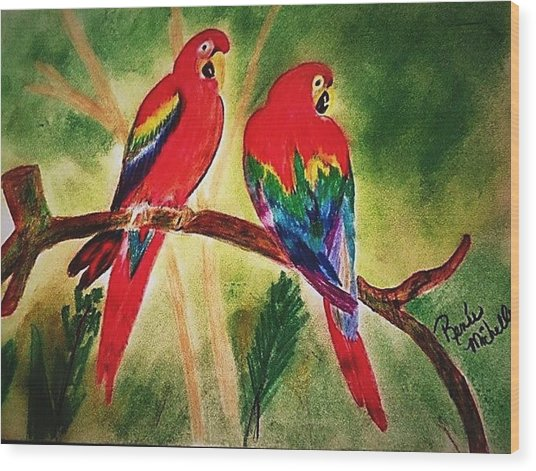 Parakeets In Paradise Wood Print