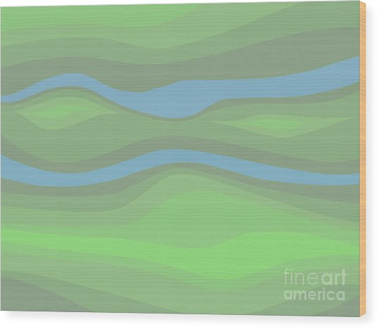 Parallel Streams Topo Wood Print
