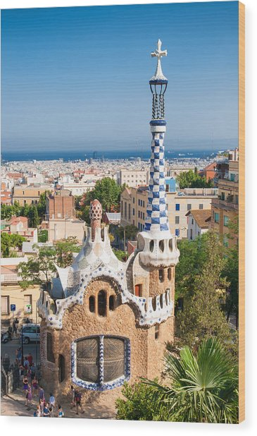 Parc Guell Barcelona Antoni Gaudi Wood Print by Matthias Hauser