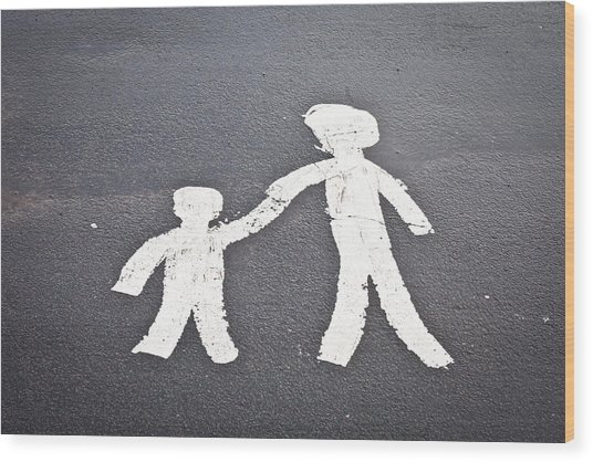 Parent And Child Marking Wood Print