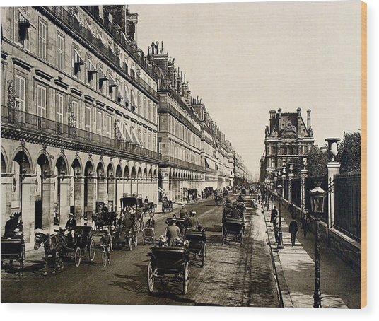 Paris 1900 Rue De Rivoli Wood Print