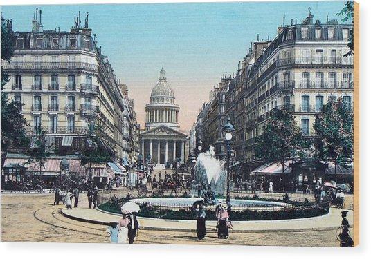 Paris 1910 Rue Soufflot And Pantheon Wood Print