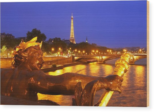 Paris At Night Wood Print by Dan Breckwoldt
