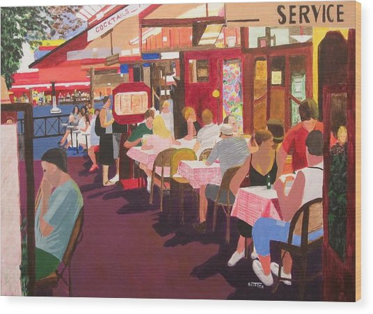 Paris Cafe At Dusk Wood Print