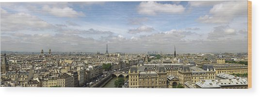 Paris City Skyline Wood Print by Vii-photo