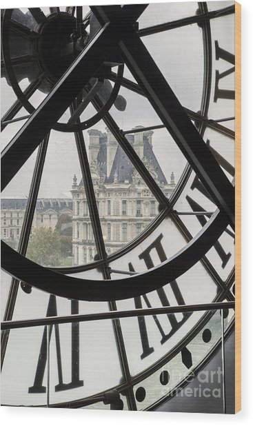 Paris Clock Wood Print
