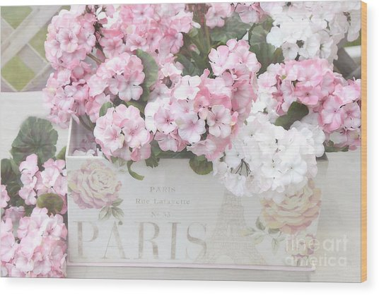 Paris Pink Flowers, Parisian Shabby Chic Paris Flower Box - Paris Floral Decor Wood Print