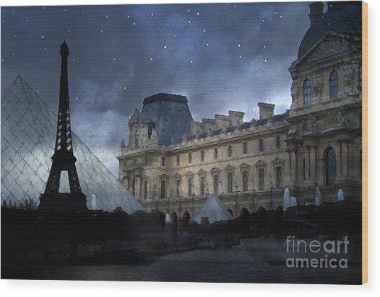 Paris Eiffel Tower With Louvre Museum Montage Photo Painting - Paris Architecture And Landmarks  Wood Print