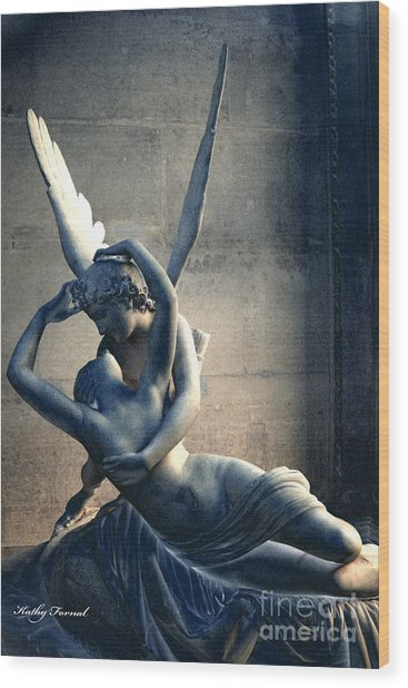 Paris Eros And Psyche Romantic Lovers - Paris In Love Eros And Psyche Louvre Sculpture  Wood Print