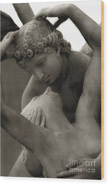 Paris - Eros And Psyche Romantic Sculpture Wood Print