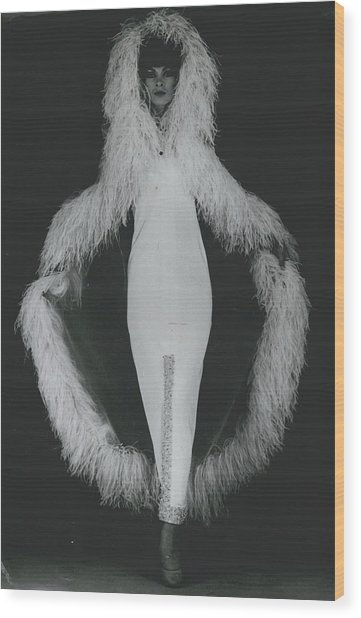 Paris Fashions Outline In Ostrich Feathers Wood Print by Retro Images Archive