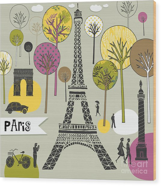 Paris France Art Print Wood Print by Lavandaart