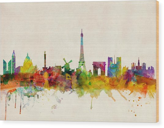 Paris France Skyline Panoramic Wood Print