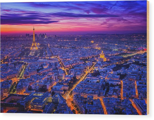 Paris I Wood Print by Juan Pablo De