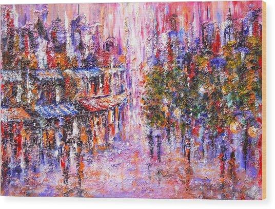 Paris In Pink Wood Print