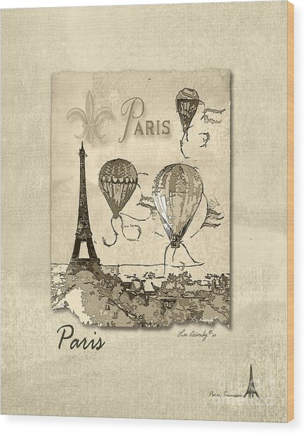 Paris In Sepia Wood Print