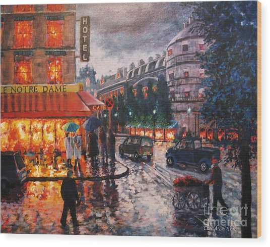 Paris In The Rain Wood Print