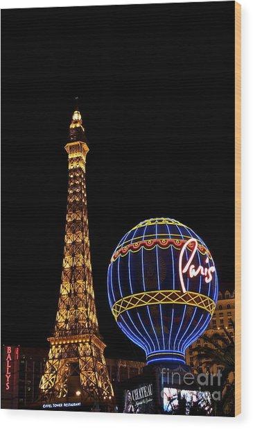 Paris In Vegas Wood Print