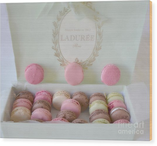 Paris Laduree Pastel Macarons - Paris Laduree Box - Paris Dreamy Pink Macarons - Laduree Macarons Wood Print