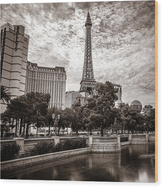 Paris Las Vegas Wood Print