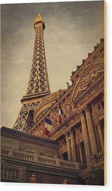 Paris - Las Vegas Wood Print