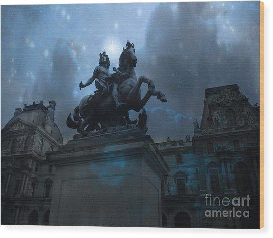 Paris Louvre Museum Blue Starry Night - King Louis Xiv Monument At Louvre Museum Wood Print