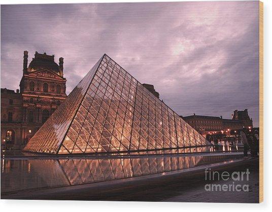 Paris Louvre Museum Dusk Twilight Night Lights - Louvre Pyramid Triangle Night Lights Architecture  Wood Print