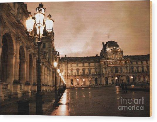 Paris Louvre Museum Sepia Night Lights Street Lamps - Paris Sepia Louvre Museum Night Photography Wood Print