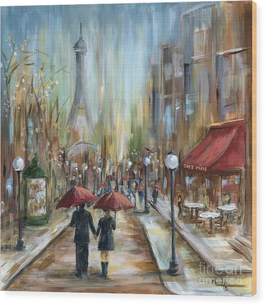 Paris Lovers Ill Wood Print