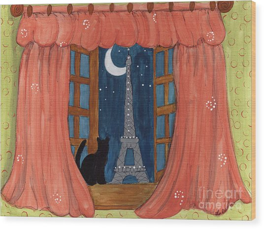 Paris Moonlight Wood Print