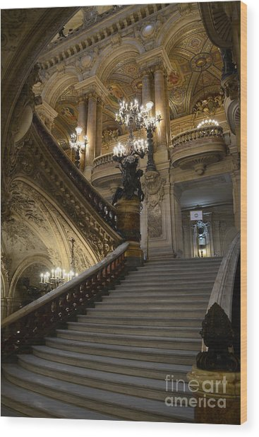 Paris Opera Garnier Grand Staircase - Paris Opera House Architecture Grand Staircase Fine Art Wood Print