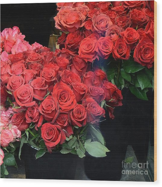 Paris Red French Market Roses - Paris French Flower Market Red Roses  Wood Print by Kathy Fornal