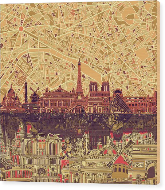 Paris Skyline Abstract Sepia Wood Print