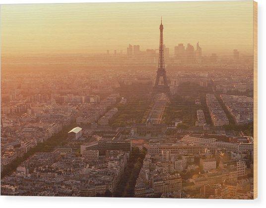 Paris Skyline With Eiffel Tower In Wood Print by B&m Noskowski