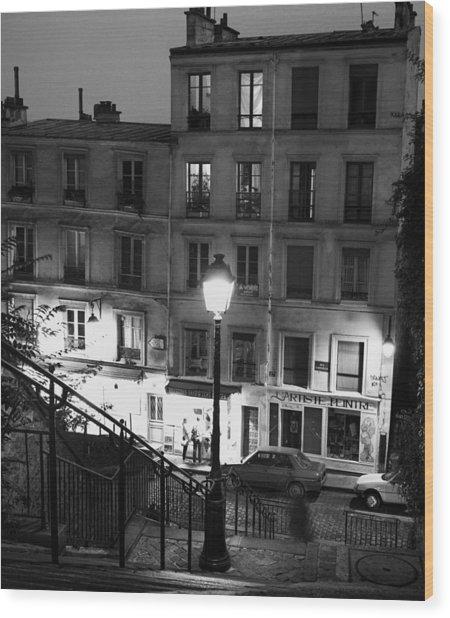 Paris-steps-montmartre Wood Print
