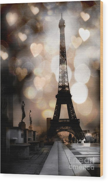 Paris Surreal Fantasy Sepia Black Eiffel Tower Bokeh Hearts And Circles - Paris Eiffel Tower Hearts  Wood Print