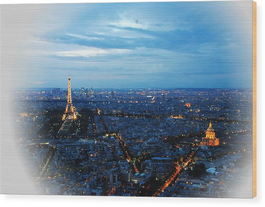Paris View From Tour Montparnasse Wood Print by Jacqueline M Lewis