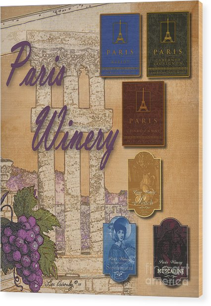 Paris Winery Labels Wood Print