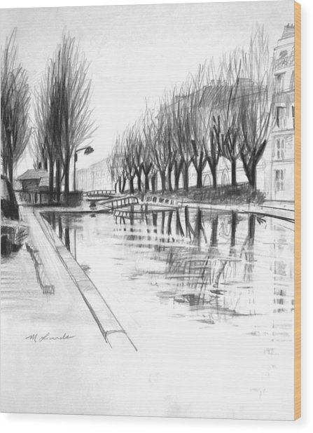 Paris Winter Canal Wood Print