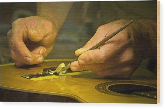 Parisian Luthier At Work Wood Print by Kent Sorensen