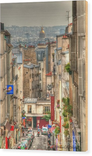 Parisian Street View Wood Print by Malu Couttolenc