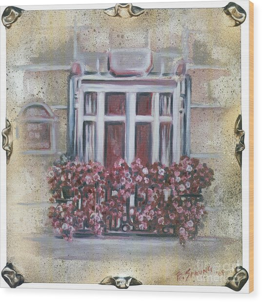 Parisian Window Wood Print by Bonnie Sprung