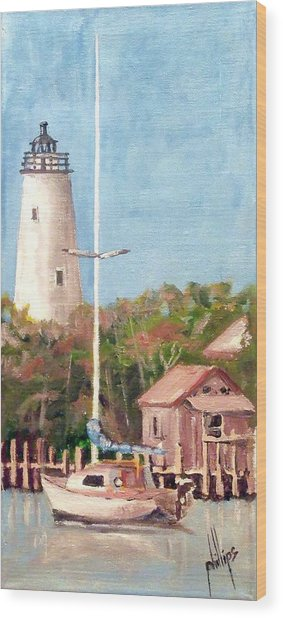 Parked By Ocracoke Wood Print