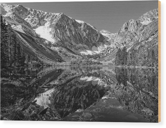 Parker Lake Black And White Wood Print