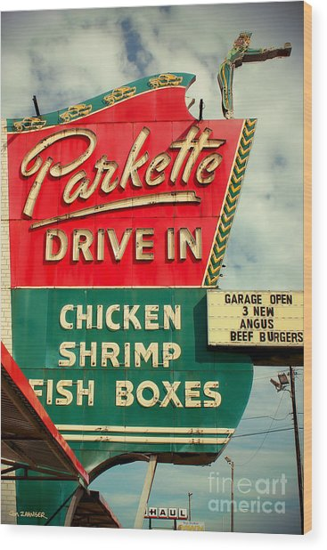 Parkette Drive-in Wood Print