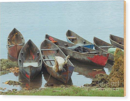 Parking Boats Wood Print