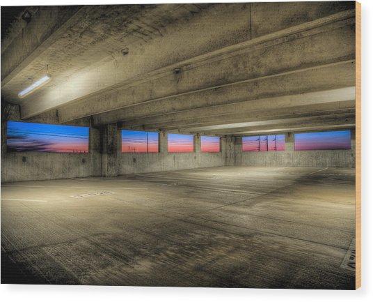 Parking Deck Sunset Wood Print