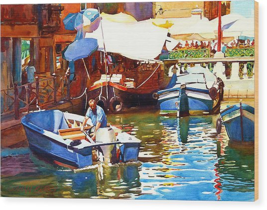 Parking In Venice Wood Print by Graham Berry