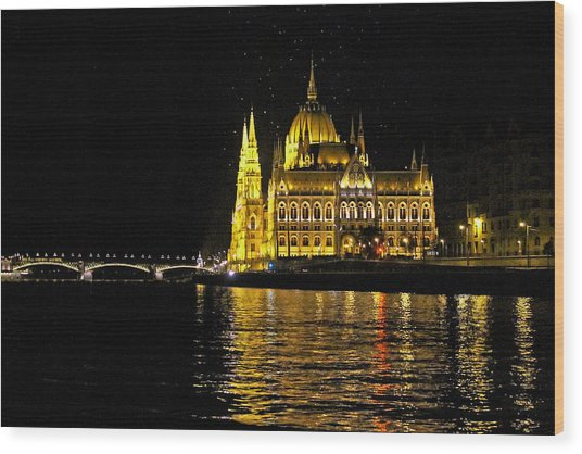 Parliament At Night Wood Print